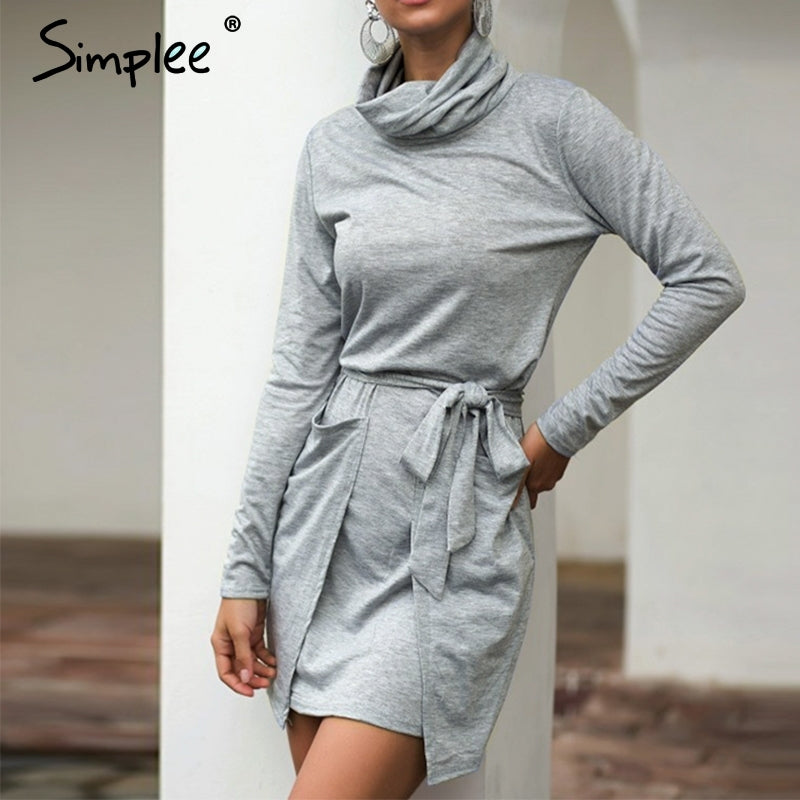 Simple Women solid strap pocket dress