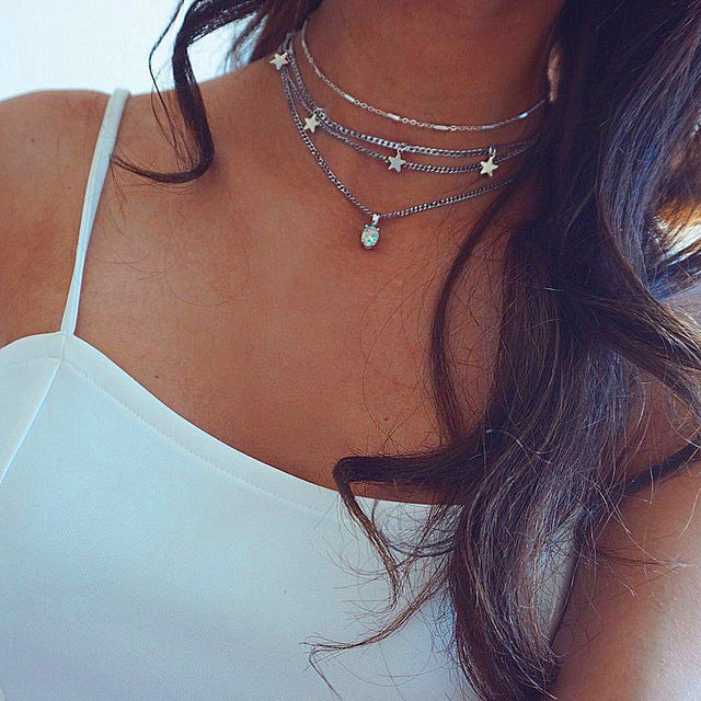Women Fashion Clavicle Chain Silver Star Opal Pendant Necklace
