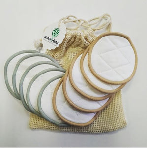 Pack 10 reusable make-up remover pads + washable bag