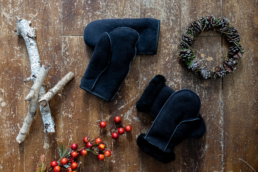 winter theme with sheepskin mittens