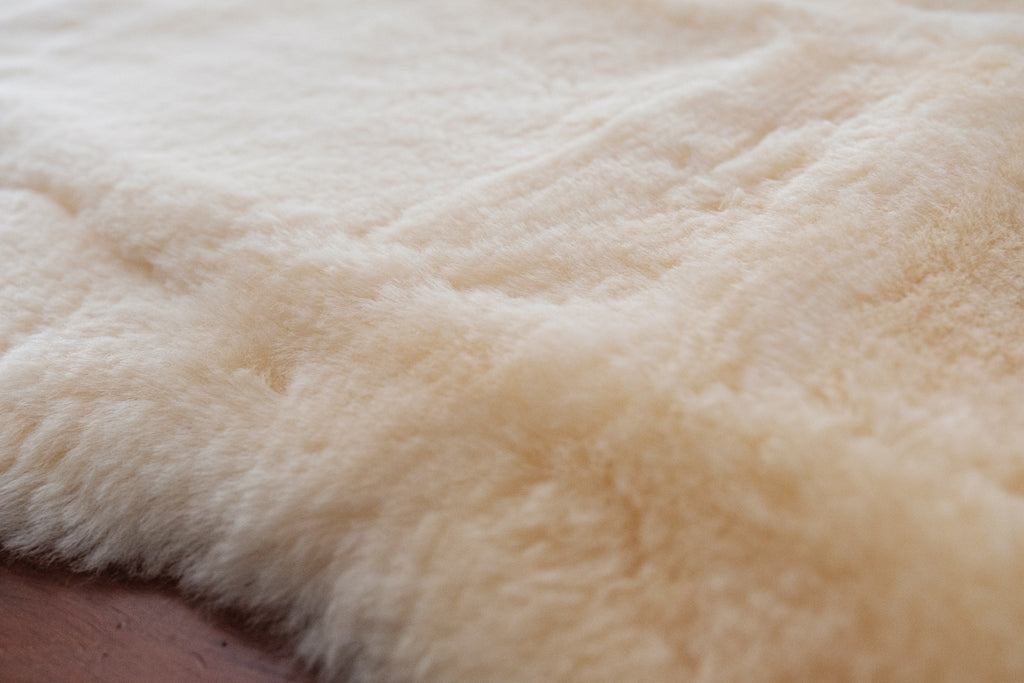 close up of medical grade sheepskin
