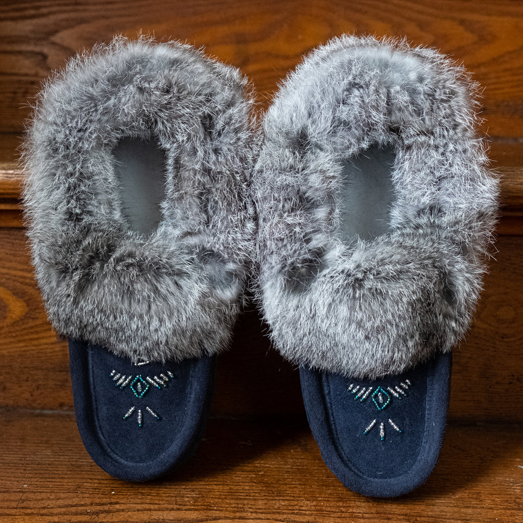 rabbit fur moccasin slippers