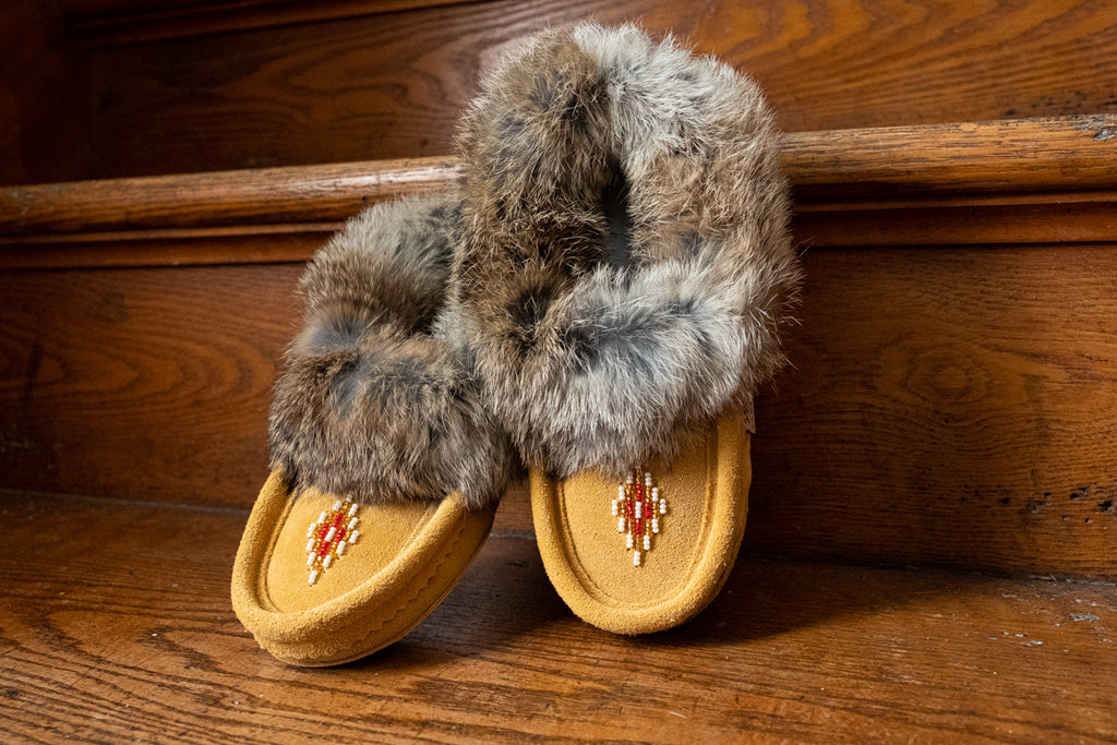 kids rabbit mur moccasin slippers