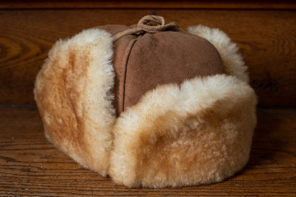 real genuine sheepskin trapper hat