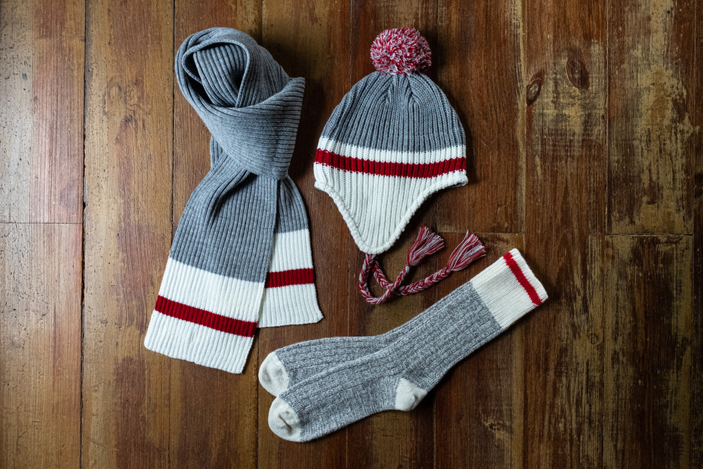work sock cabin vibe combo with hat, socks and scarf