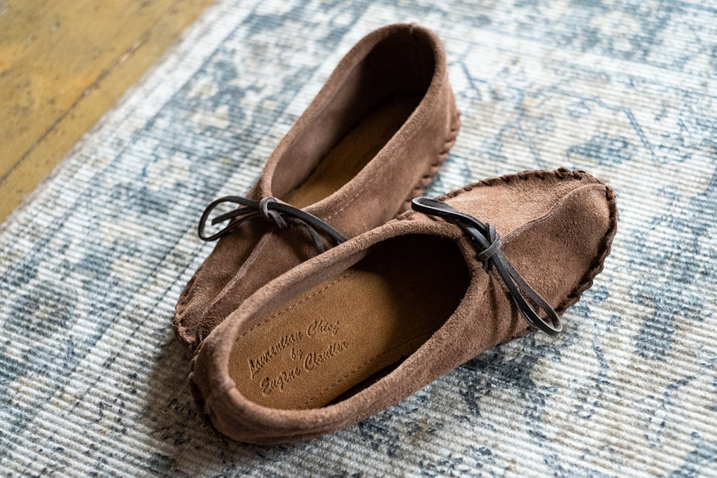 brown suede ballet moccasin slippers