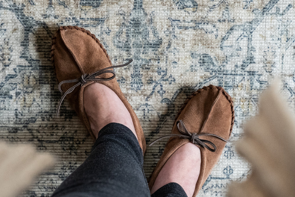 minimalist moccasin slippers