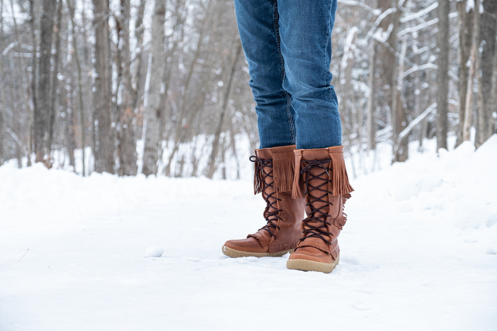 traditional Native style moccasin winter boots woods genuine leather