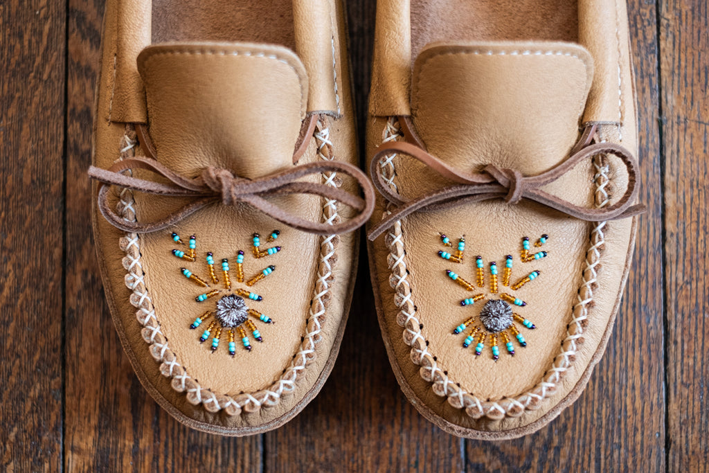 Beaded moccasins by hand