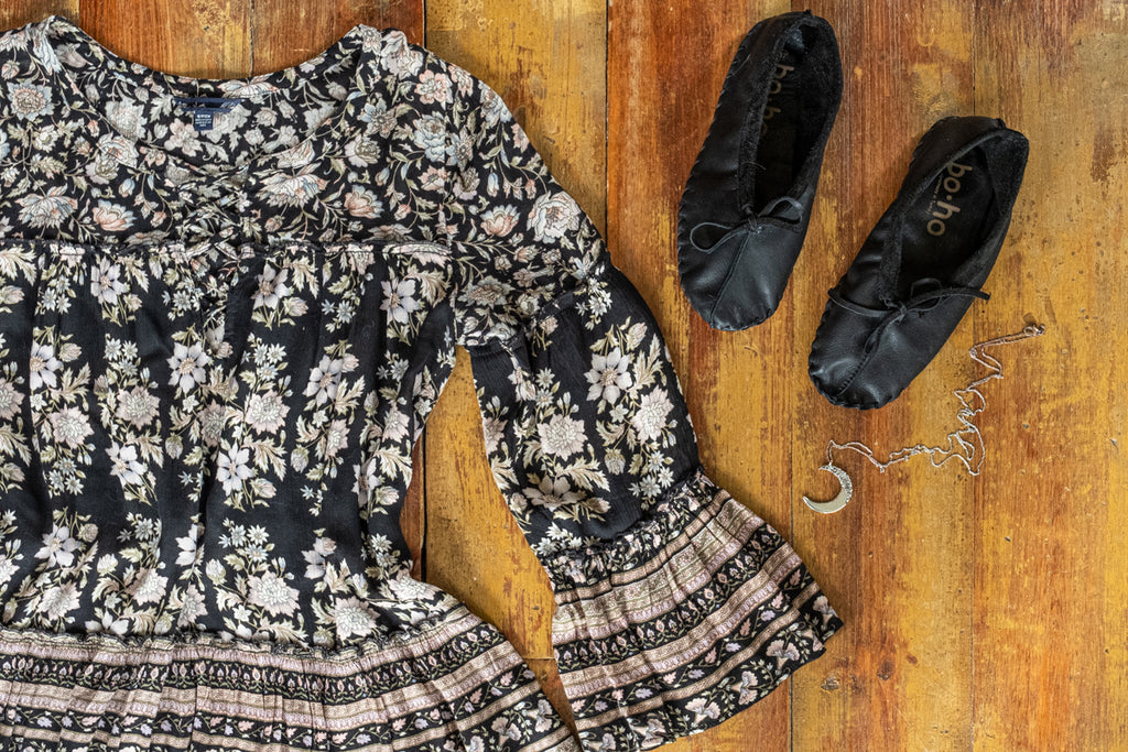 Cute floral belle sleeve hippie dress with matching black ballet slippers