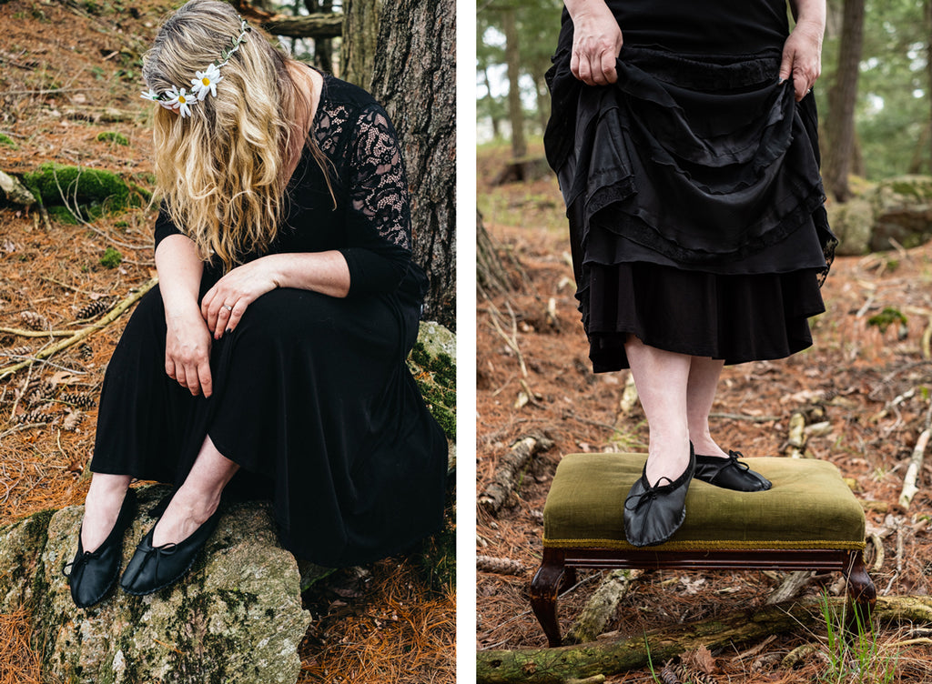 Forest Woman in black with black ballet mocs vintage flower child hippy look
