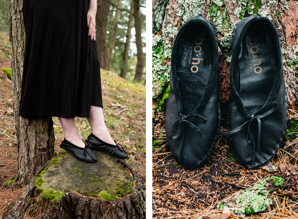 forest bathing earthing in woods with ballet moccasins vintage natural organic looking