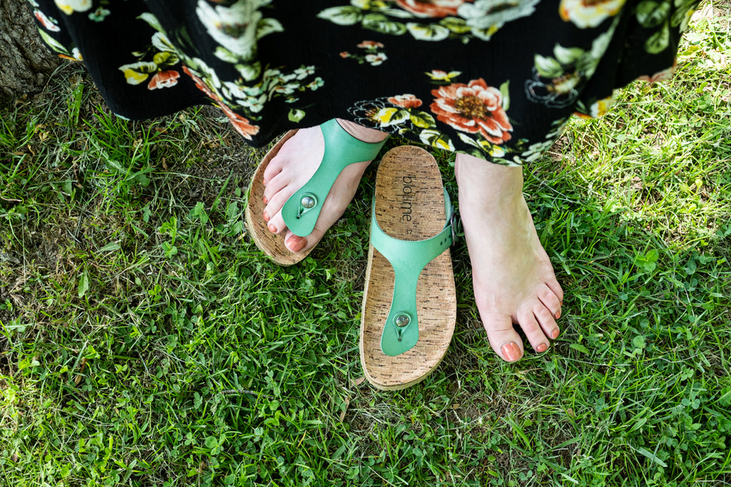 earthing with copper riveted sandals