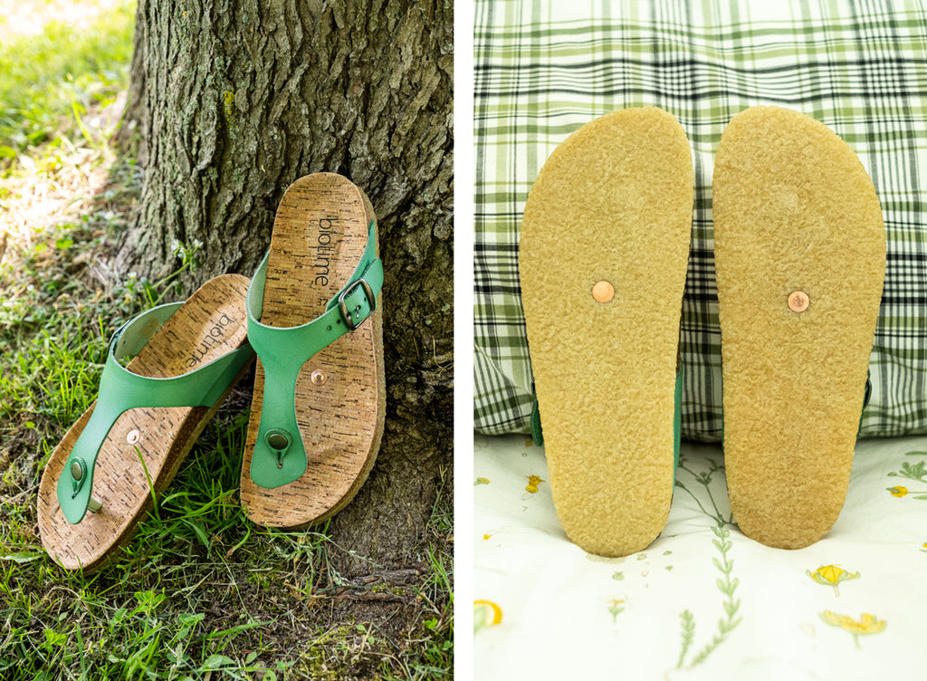 Sandals shoes with copper rivet inserted into footbed for earthing grounding