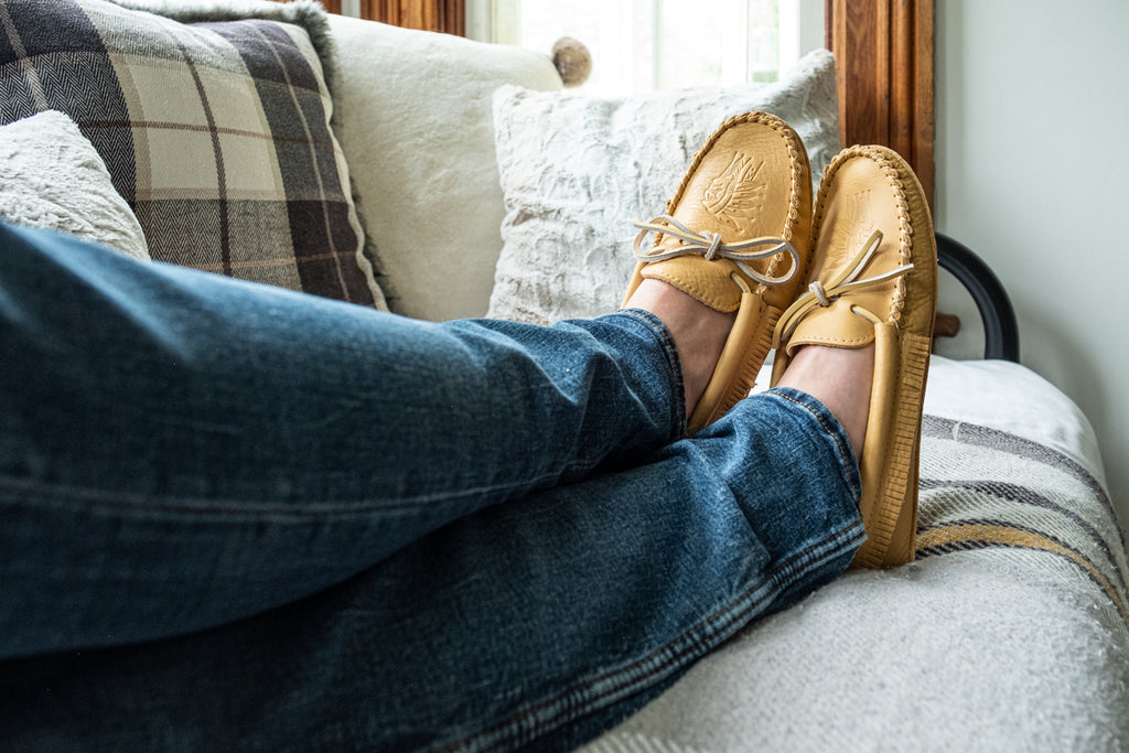 wearing a pair of quality genuine leather moccasins for men