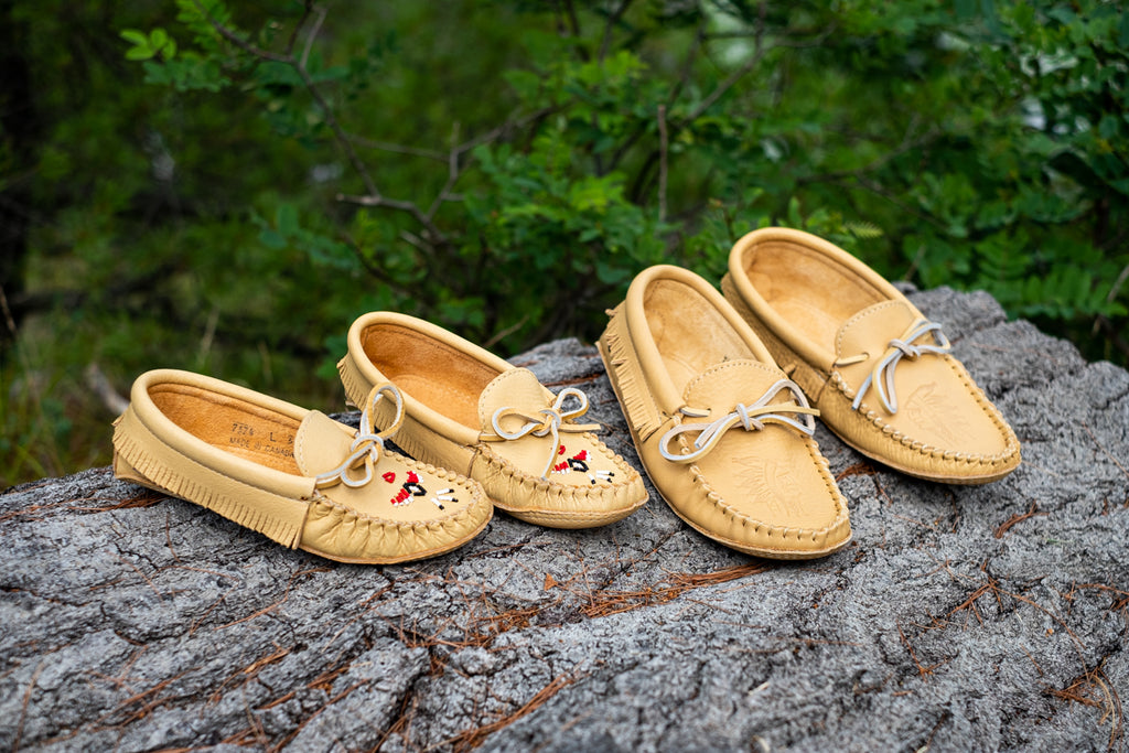 Leather moccasins matching men's and women's Laurentian Chief