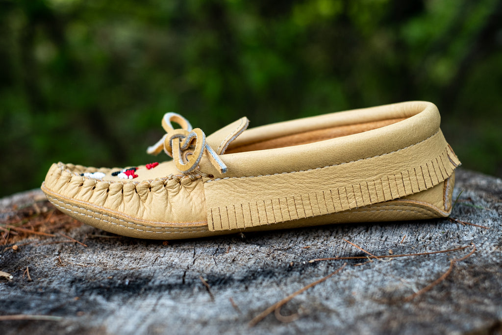 short side fringe on a pair of authentic moccasins
