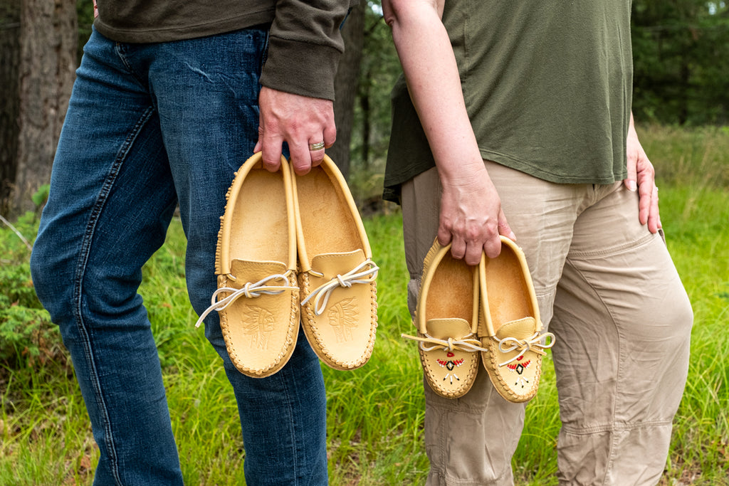 Husband and wife matching Laurentian Chief moccasins