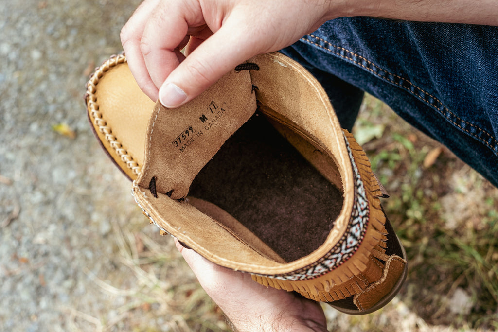 suede interior of authentic leather moccasin boots