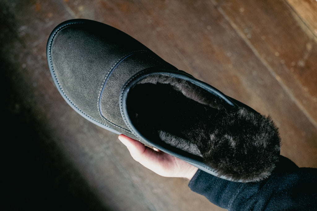 Quality slippers made with real sheepskin in black