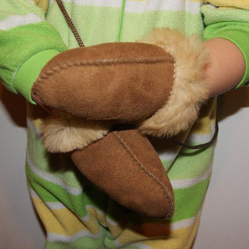 Authentic Todler  //Infants Sheepskin Gloves  Thumb less With String