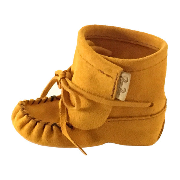 Native American Handmade Tan Suede Ankle High Baby Moccasin Booties
