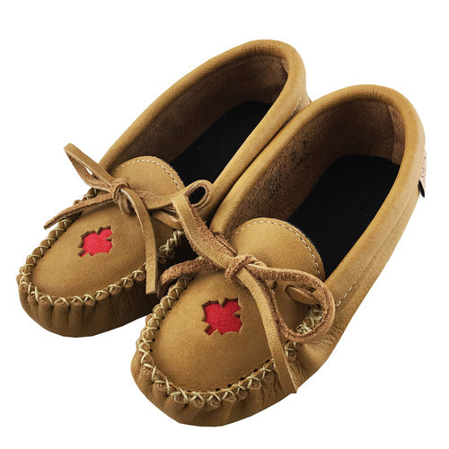 Junior Size Children's Moose Hide Leather Maple Leaf Moccasins