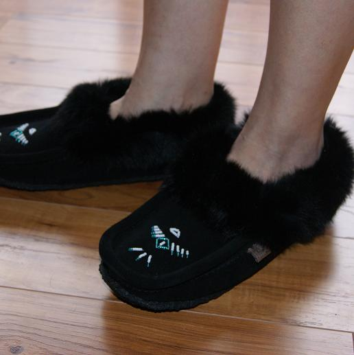 Crepe Sole Fleece Lined Ladies Moccasin Slippers With