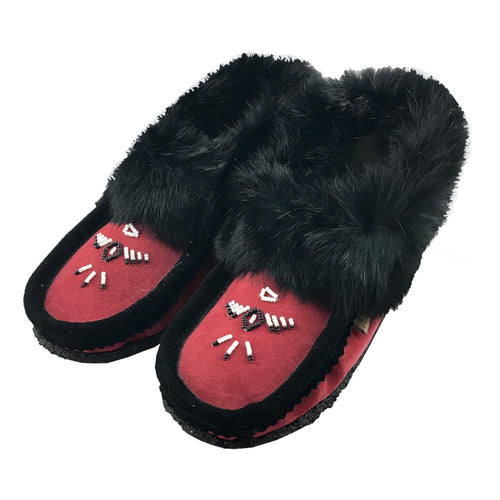 Women's Rabbit Fur Beaded Crepe Sole Moccasins