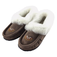 Women's Sheepskin Lined Beaded Crepe Sole Moccasins