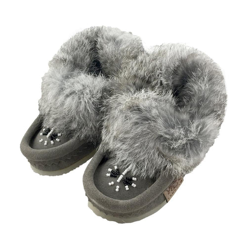 Children's Rabbit Fur Beaded Crepe Sole Moccasins