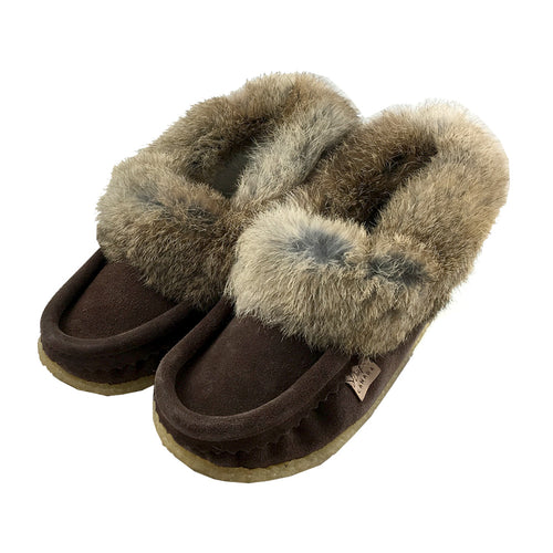 Women's Rabbit Fur Crepe Sole Suede Moccasins