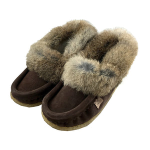 Women's Rabbit Fur Crepe Sole Suede Moccasins (Size 6 ONLY)