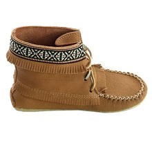Women's Cork Moose Hide Leather Moccasin Boots