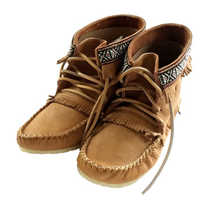 Ankle Fringed Leather Moccasin Boots