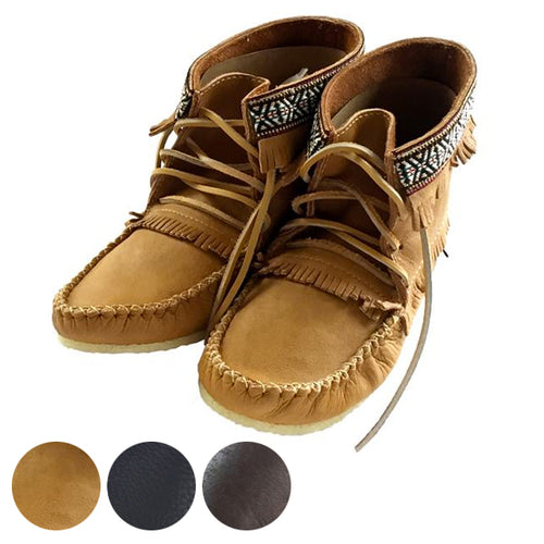 Men's Moose Hide Leather Moccasin Boots