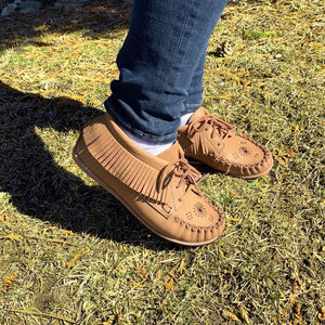 Women's Moose Hide Embroidered & Fringed Moccasin Shoes