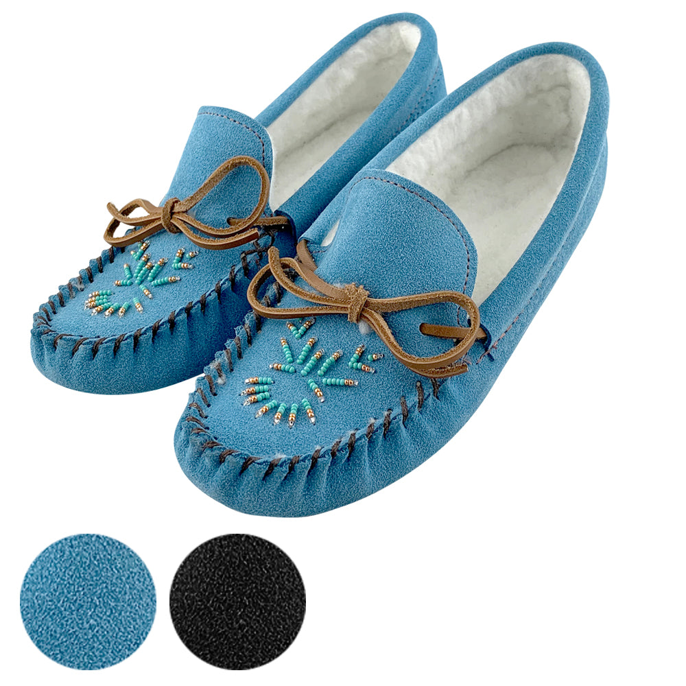 Women's Fleece Lined Beaded Suede Moccasins