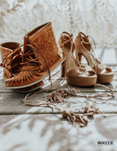 Women's Floral Embossed Suede Moccasin Boots