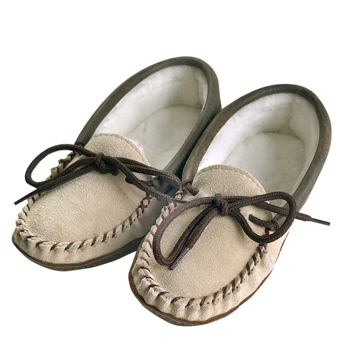 Women's Clearance Sand Sheepskin Lined Moccasins