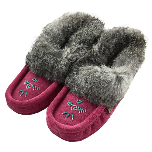 Women's Rabbit Fur Thunderbird Beaded Sheepskin Moccasins