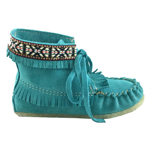 Children's Clearance Turquoise Suede Moccasin Boots