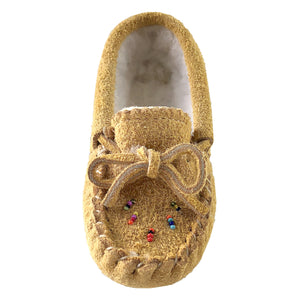 Children's Fleece Lined Beaded Suede Moccasins