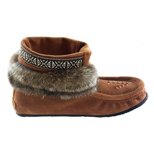 Women's Dark Tan Rabbit Fur Ankle Moccasin Boots