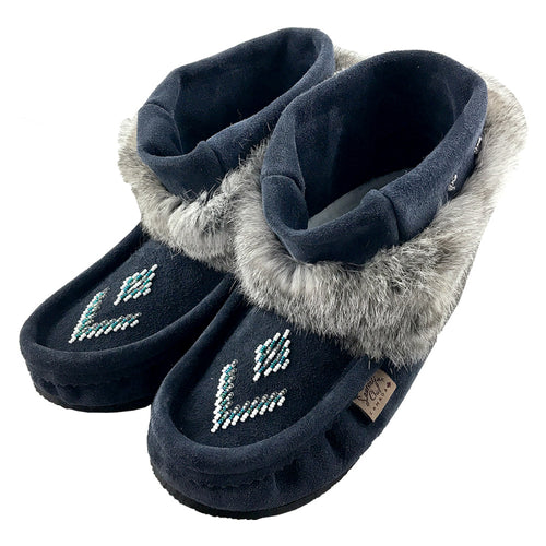 Women's Navy Rabbit Fur Ankle Moccasin Boots