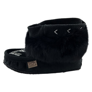 Women's Black Rabbit Fur Ankle Moccasin Boots