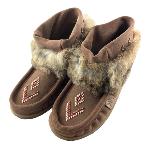Women's Tobacco Rabbit Fur Ankle Moccasin Boots