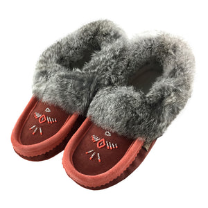 Women's Rabbit Fur Suede Beaded Moccasins