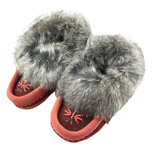 Baby & Children's Rabbit Fur Suede Beaded Moccasins