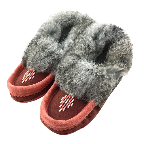 Children's Junior Size Rabbit Fur Beaded Moccasins